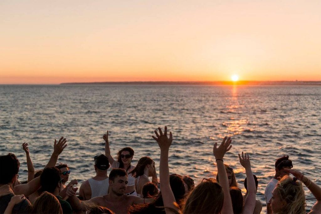 Sunset boat party in Lisbon