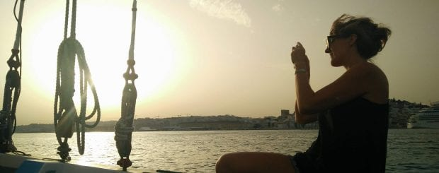 sunset boat trip in Lisbon