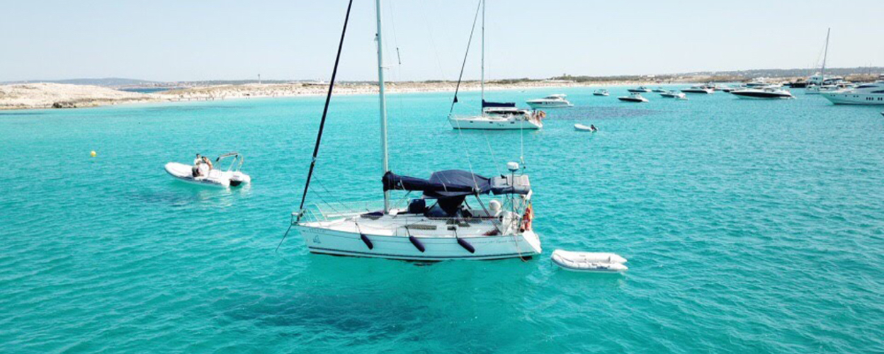 Cover for romantic luxury sailboat in Ibiza