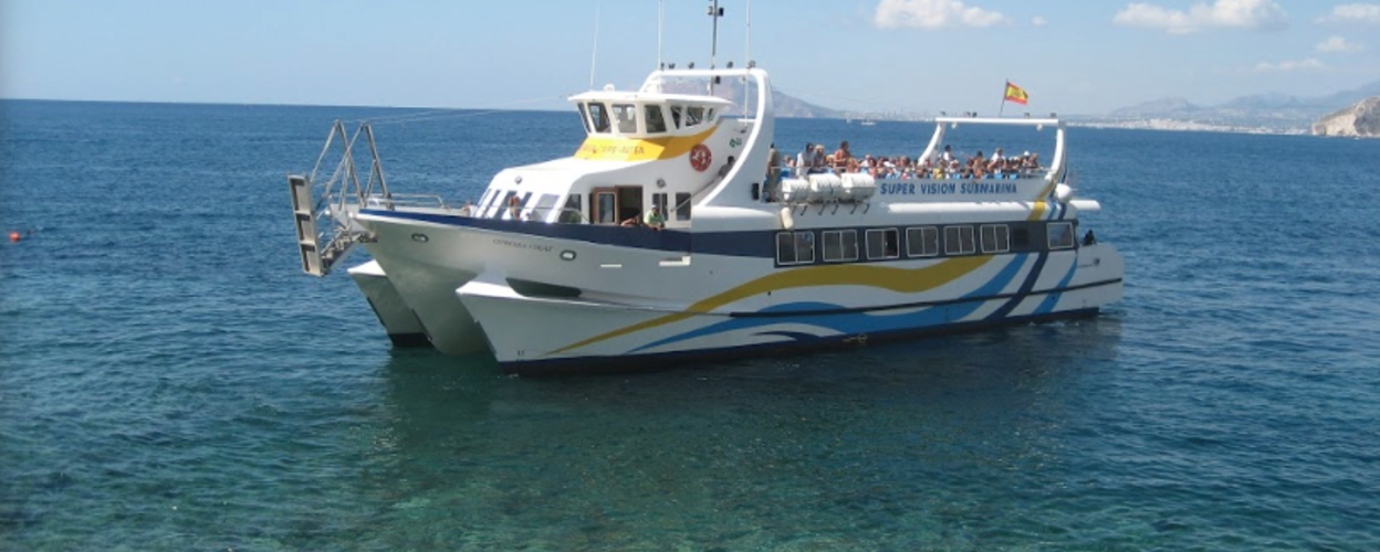 Cover for private catamaran boat tour from Dénia with underwater vision