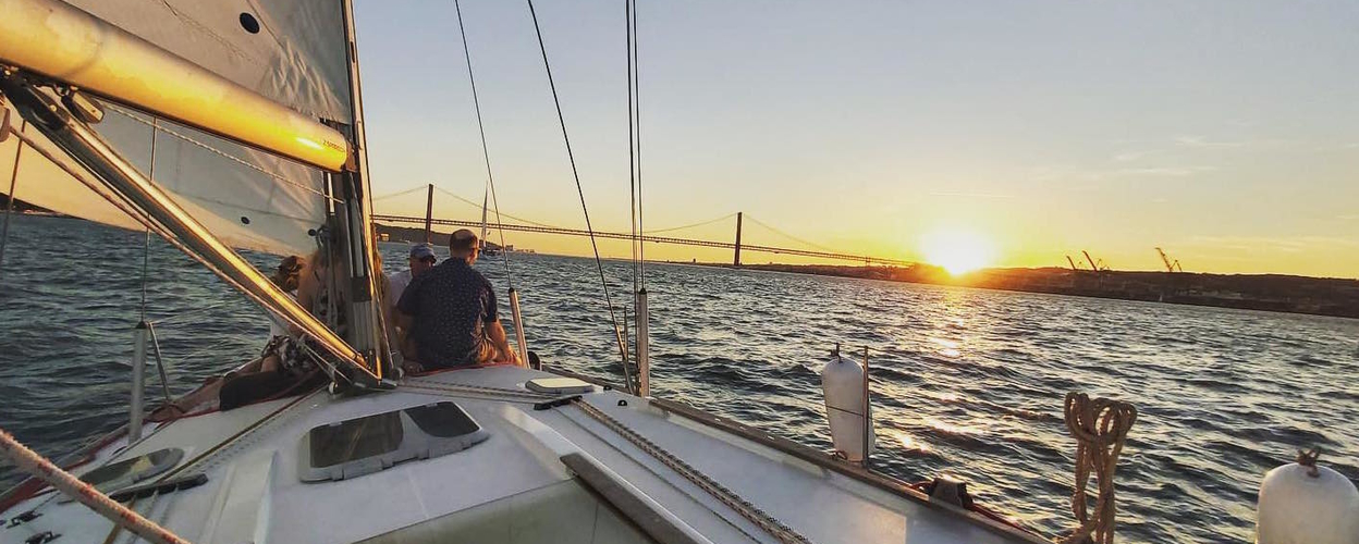 Sailing in the sunset in Lisbon