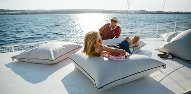 Relax on board of our sailing boat for this Rhodes tour during sunset
