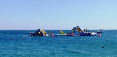 Inflatable waterpark in Sesimbra