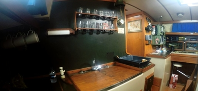 Even the interior of this sailing yacht is vintage!