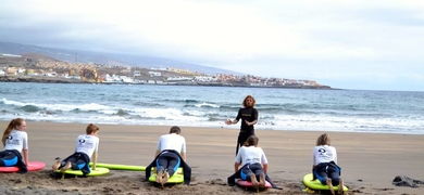 Before going into the water, we'll have a beach class