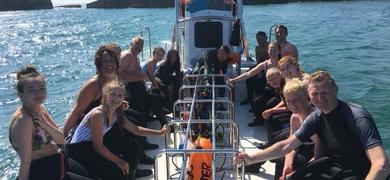 Snorkeling from a boat in Albufeira