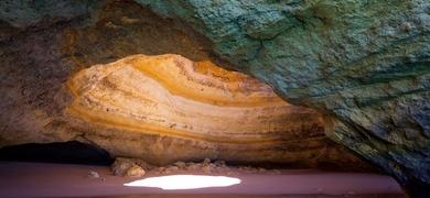 sun projection into benagil cave
