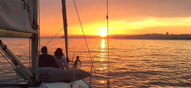 Romantic sunset sailing in Lisbon cover