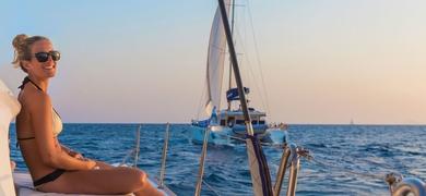 Relax on board of the catamaran