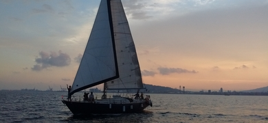 Sailing and swimming in Barcelona