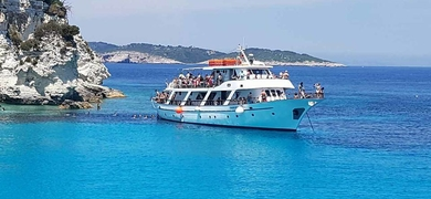 Full day boat tour in Corfu to Paxos and Antipaxos Cover