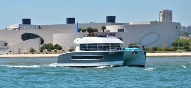 Power yacht in Lisbon
