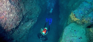 Venture into underwater tunnels and caves