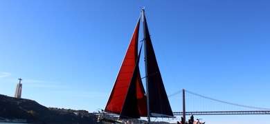 vintage yacht in Lisbon