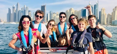 skyscrapers boat tour in Dubai
