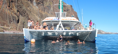 Swimming on a boat trip in Madeira