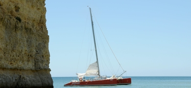 Sailing along the coast of Vilamoura