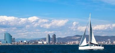 Sunset sailing in Barcelona