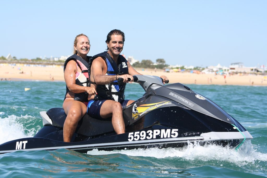 You can take two people on each jet ski