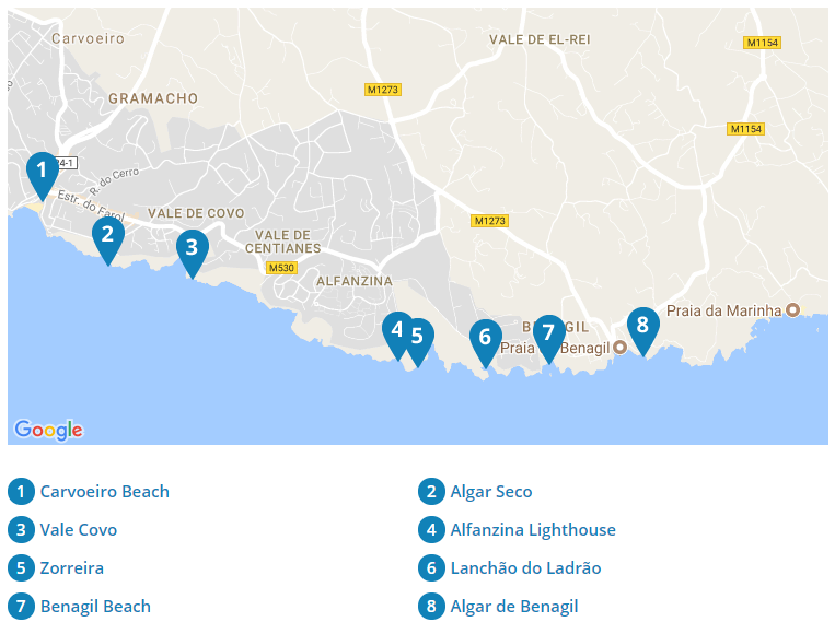 Grottenfahrt Nach Benagil SeaBookings - Portugal map carvoeiro