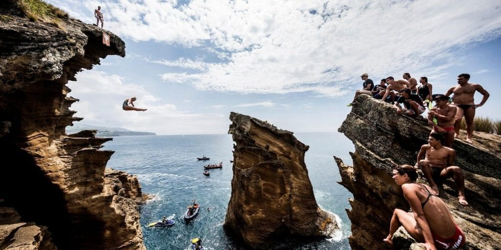 Rachelle Simpson of the USA dives from a 20 metre cliff during an open training day prior to the fifth stop of the Red Bull Cliff Diving World Series, Islet Franco do Campo, Azores, Portugal on July 15th 2015.