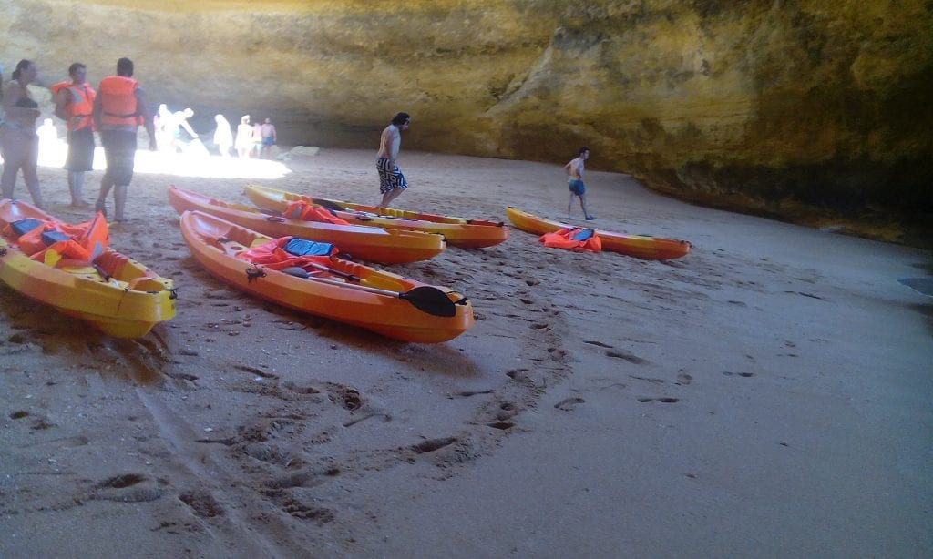 The kayaks for the kayak tour are tandem