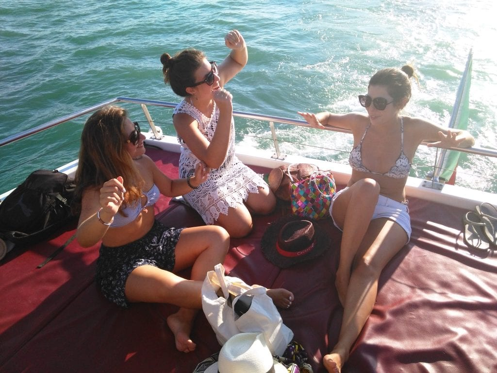 The girls on the boat party in Albufeira