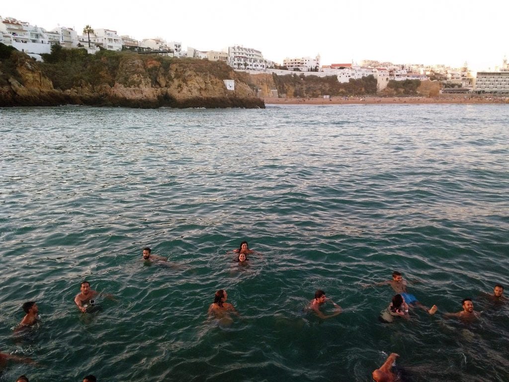 Nice swim during the party boat in the Algarve