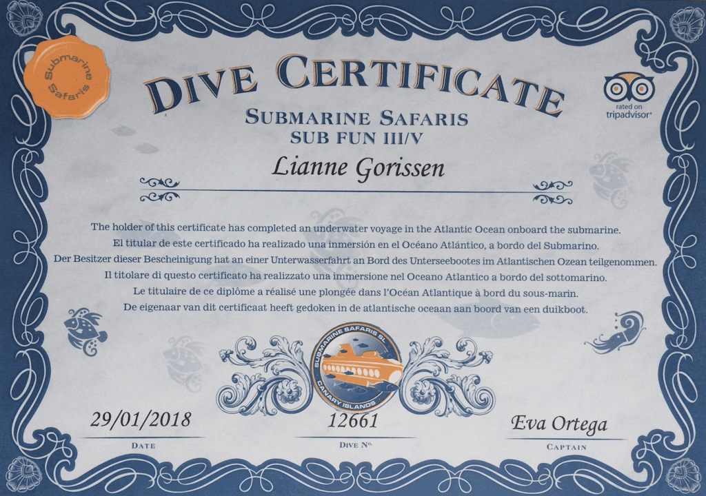 And I got my certificate of this submarine tour in Tenerife :)