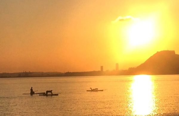 During sunset the skies o Alicante become magical