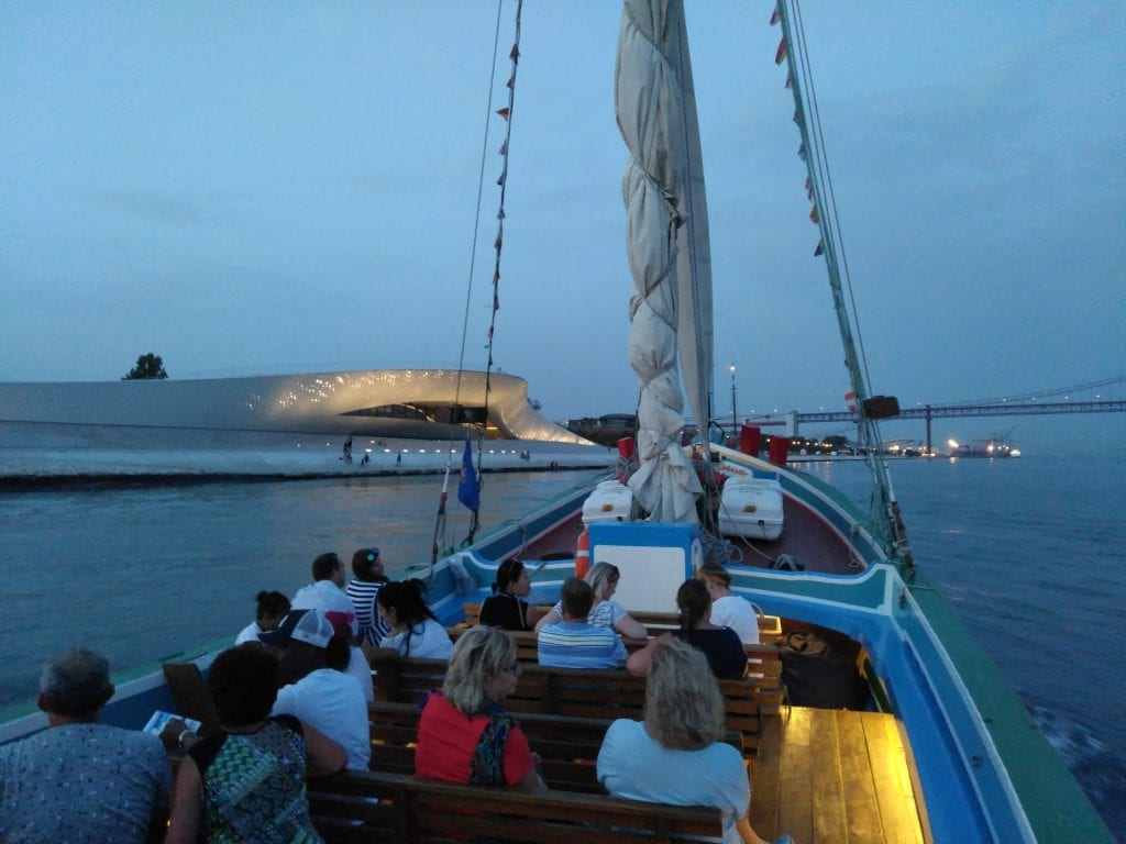 Sailing by the impressive MAAT when the sun had already set