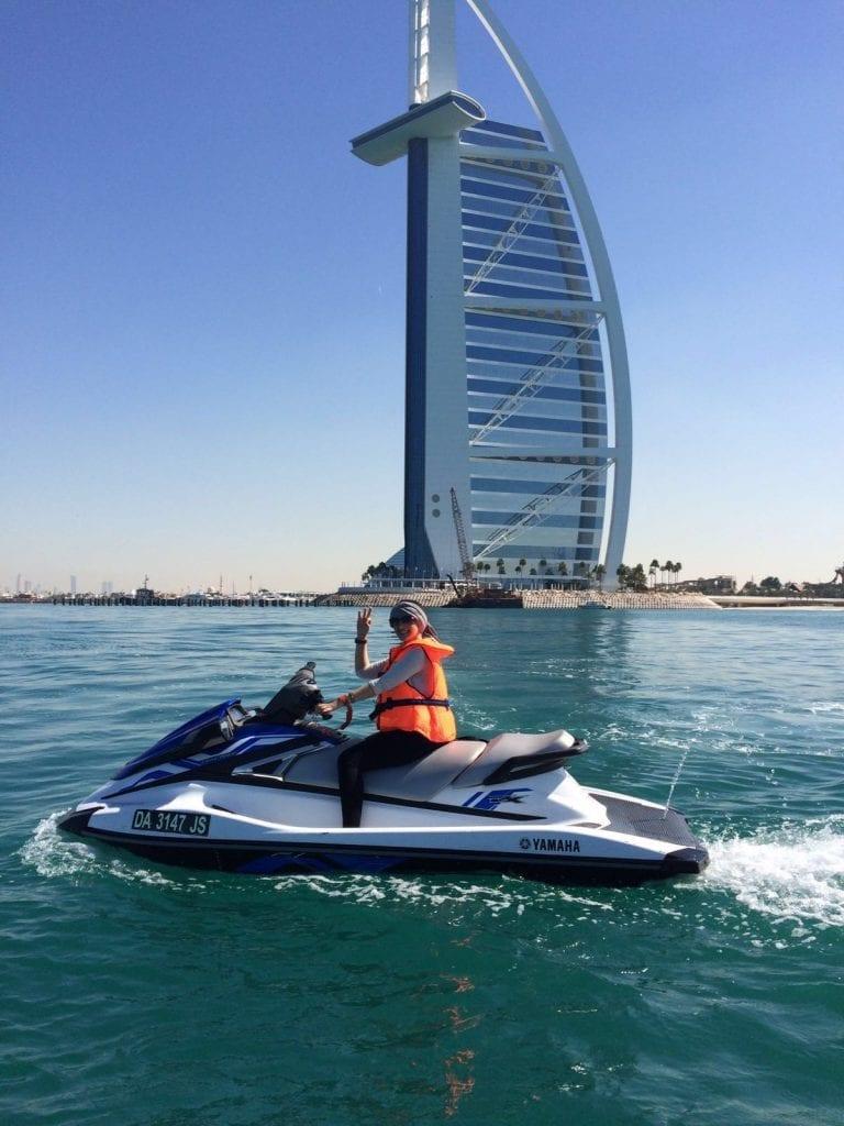 On a jet ski you can explore the Burj Al Arab hotel better!