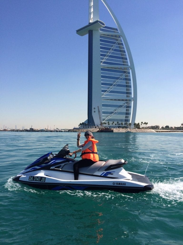 On a jet ski you can explore the Burj Al Arab hotel better!